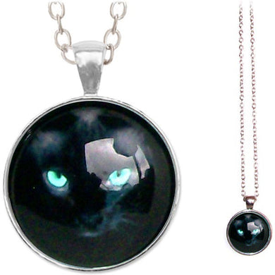Silver glass dome CAT face eyes black white blue animal round pendant & lobster clasp chain