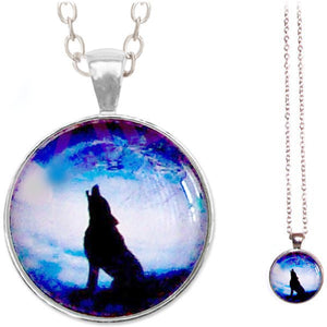 Silver glass dome Wolf Howling black blue round animal pendant & lobster clasp chain