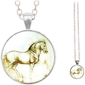 Silver glass dome Horse Artist Sketch animal equine pendant & lobster clasp chain
