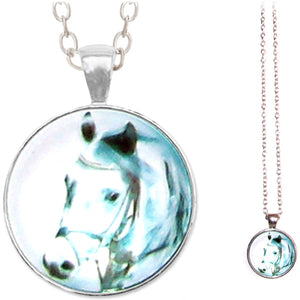 Silver glass dome HORSE head bridled white grey gray animal equine equestrian round pendant & lobster clasp chain