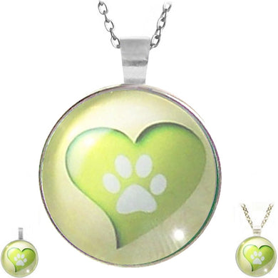 Silver glass dome Paw in Heart love animal dog cat round pendant & lobster clasp chain