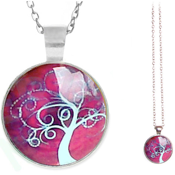 Silver glass dome Tree of Life burgundy pink round pendant & lobster clasp chain