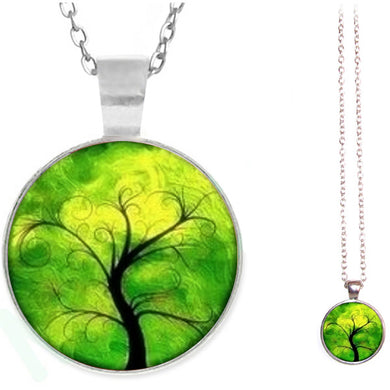 Silver glass dome Tree of Life green yellow pendant & lobster clasp chain