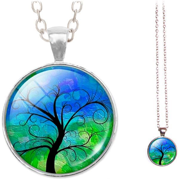 Silver glass dome Tree of Life green blue pendant & lobster clasp chain