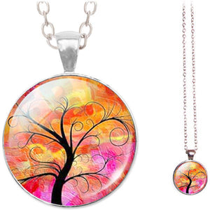 Silver glass dome Tree of Life pink orange pendant & lobster clasp chain