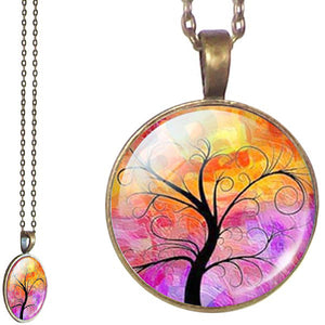 Bronze glass dome Tree of Life orange pink round pendant & lobster clasp chain