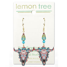 Load image into Gallery viewer, Artisan earrings LEMON TREE 14k gf Steer Head Skeleton Southwest dangles