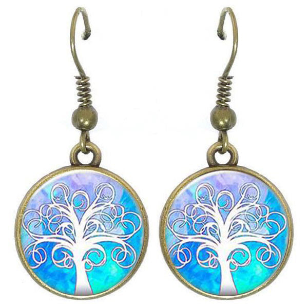 Bronze glass dome earrings TREE OF LIFE light blue white family heritage round dangle