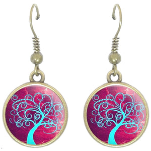 Bronze glass dome earrings TREE OF LIFE burgundy light blue family heritage round dangle