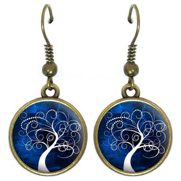 Bronze glass dome earrings TREE OF LIFE dark blue black family heritage round dangle
