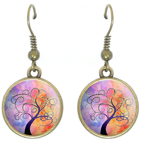 Bronze glass dome earrings TREE OF LIFE pink family heritage round dangle