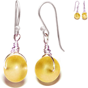 Artisan sterling silver Sea Glass earrings 14mm rondelle wire-wrapped - yellow gold