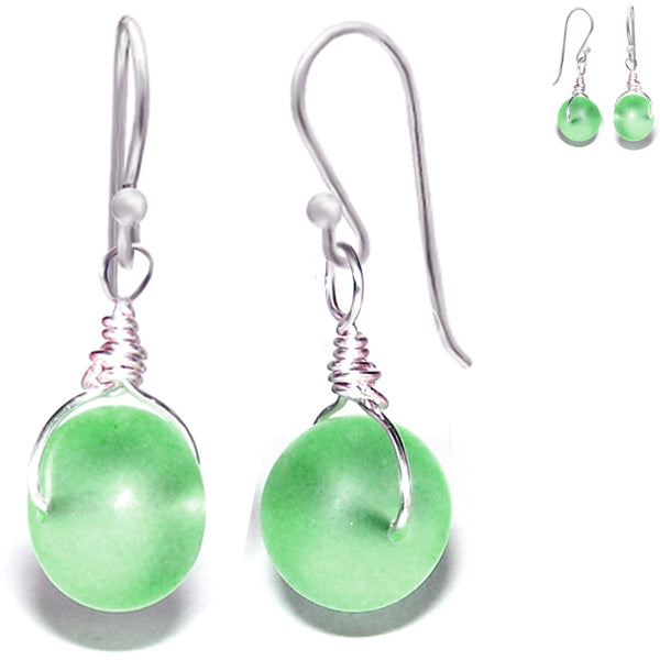 Artisan sterling silver Sea Glass earrings 14mm rondelle wire-wrapped - green