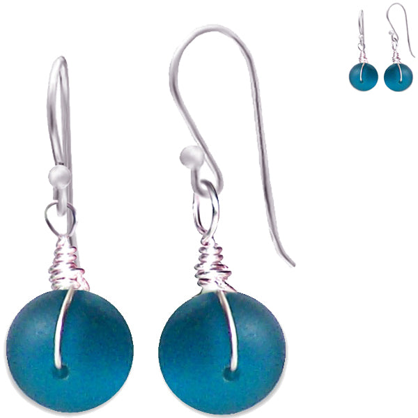 Artisan sterling silver Sea Glass earrings 14mm rondelle wire-wrapped - Teal blue