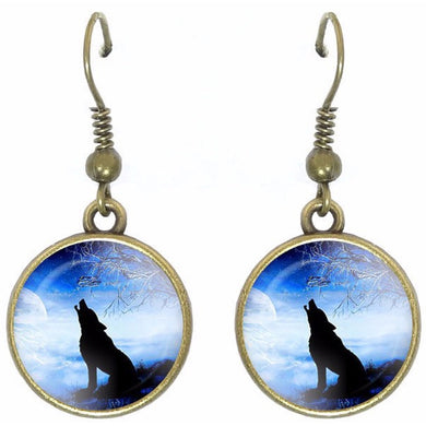 Bronze glass dome earrings HOWLING WOLF sitting Blue wild animal round dangle