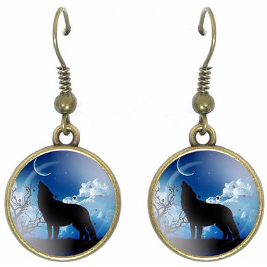 Bronze glass dome earrings standing HOWLING WOLF wild animal round dangle