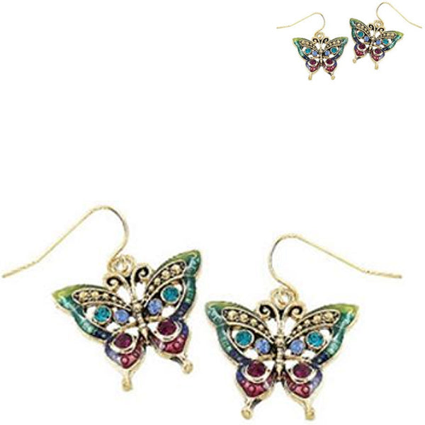 Gold-plated earrings Butterfly crystals multi-colors dangles - 1 pair