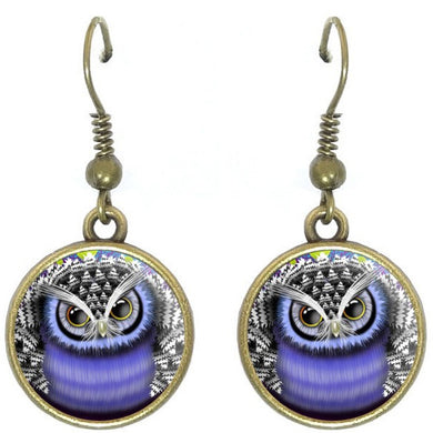 Bronze glass dome earrings OWL purple lavender bird wild animal round dangle