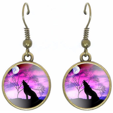 Bronze glass dome earrings HOWLING WOLF sitting Pink wild animal round dangle