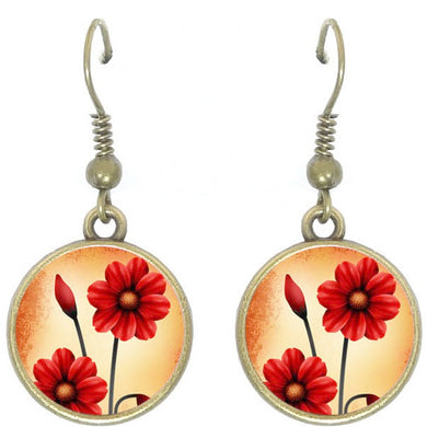 Bronze glass dome earrings RED POPPIES flower floral round dangle