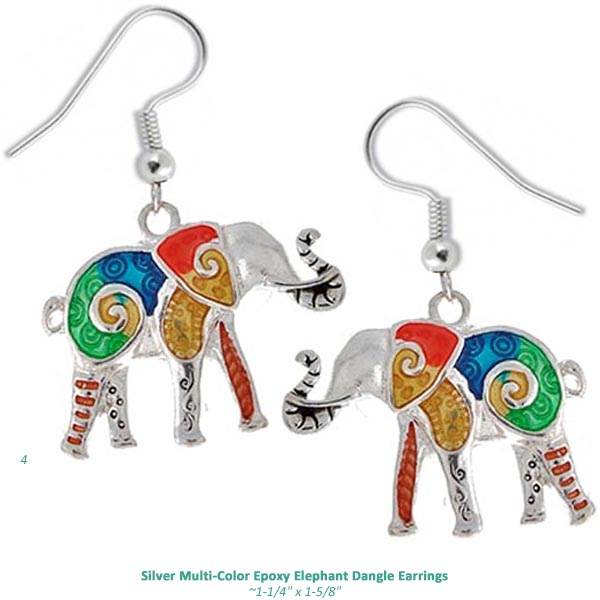 Silver-plated earrings Elephants epoxy multi-color metal dangles - 1 pair