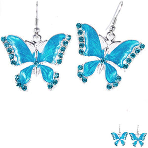 Silver-plated earrings Butterfly blue enamel crystals multi-color metal dangles - 1 pair