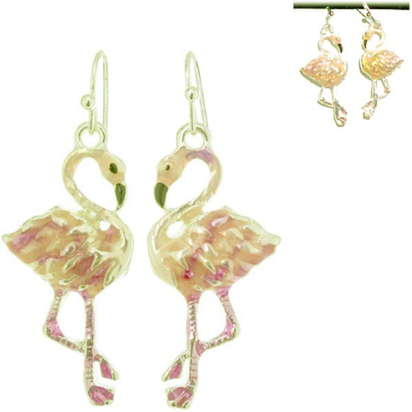 Silver-plated earrings Flamingo pink enamel crystals multi-color metal dangles - 1 pair