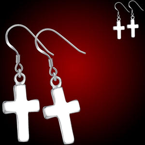 Silver-plated earrings Cross plain 17x9mm metal 30mm dangles - 1 pair