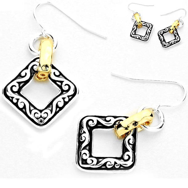 Silver- gold-plated earrings Diamond metal curved twist dangles - 1 pair