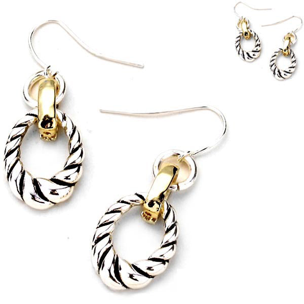 Silver- gold-plated earrings Oval metal curved twist dangles - 1 pair