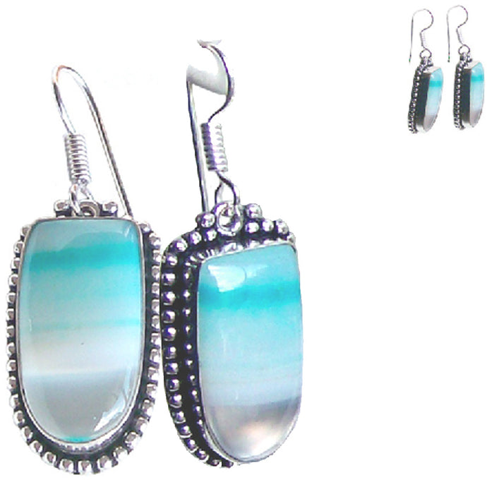 Silver-plated Botswanna Agate earrings ~12x25mm dangles - 1 pair ~2-1/4