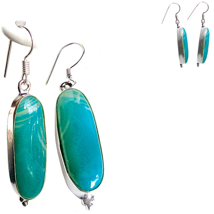 Silver-plated Botswanna Agate earrings ~8x30mm dangles - 1 pair ~2-1/4