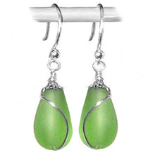 Load image into Gallery viewer, Artisan earrings sterling silver or 14kg-filled Sea Glass 18mm drop bead 25mm dangles - U PICK color