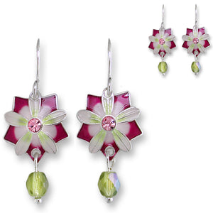 Artisan earrings ZARAH silver QUINTESSENCE FLOWER hand painted ZARLITE dangles