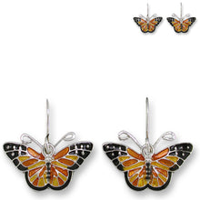 Load image into Gallery viewer, Artisan earrings ZARAH silver MONARCH butterfly ZARLITE hand painted