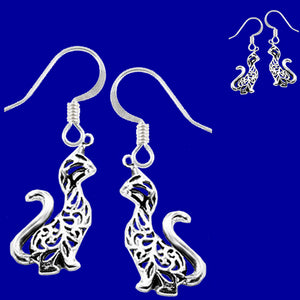 Sterling Silver Earrings Tiger Cat Ajouré long neck Thai dangle earrings