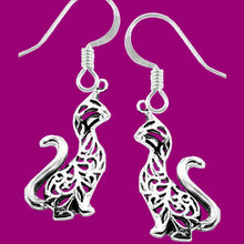 Load image into Gallery viewer, Sterling Silver Earrings Tiger Cat Ajouré long neck Thai dangle earrings