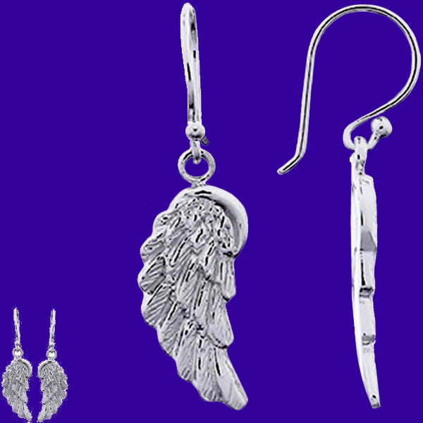 Sterling Silver Earrings Angel Wings casted Thai spiritual religious dangle earrings