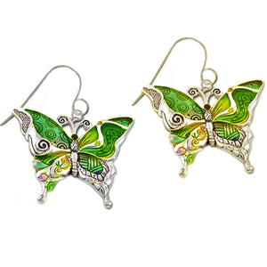 Silver-plated earrings Butterfly epoxy yellow green multi-colors insect metal dangles - 1 pair