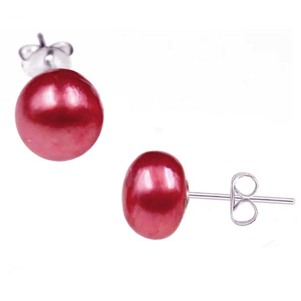 Sterling silver earrings Shell Pearl 7-8mm freshwater semi-round post studs - red brown