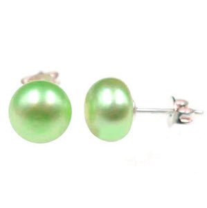 Sterling silver earrings Shell Pearl 8-9mm freshwater semi-round post studs - green