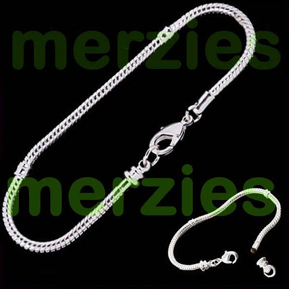 European-style bracelet add a bead 22cm silver charm large hole beads chain lobster clasp