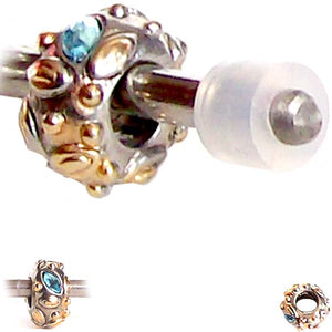 European 1 silver gold metal FLORAL BLUE crystals chain spacer bead