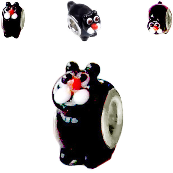 European 1 silver lampwork glass CAT black white red spacer bead kitty feline