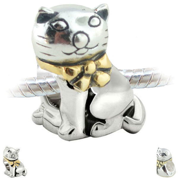 European 1 silver gold metal CAT bow kitty animal spacer chain beads