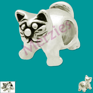 European 1 silver metal CAT kitty feline animal domestic spacer bead