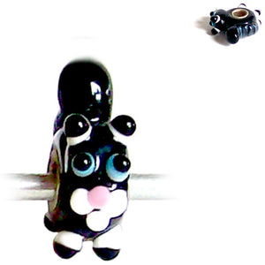 European 1 silver lampwork glass SKUNK flower black blue white  pink spacer charm bead