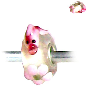 European 1 silver lampwork glass pink KOI fish clear spacer charm bead coi