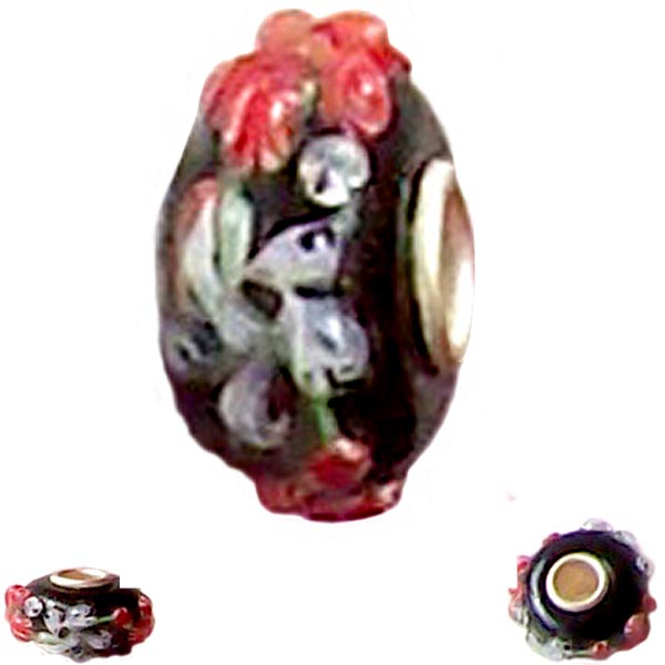 European 1 silver lampwork glass red white Floral flower black spacer charm bead