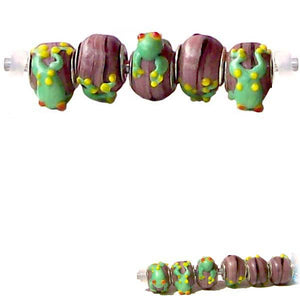 European 1 silver lampwork glass FROG green yellow red mauve spacer charm bead